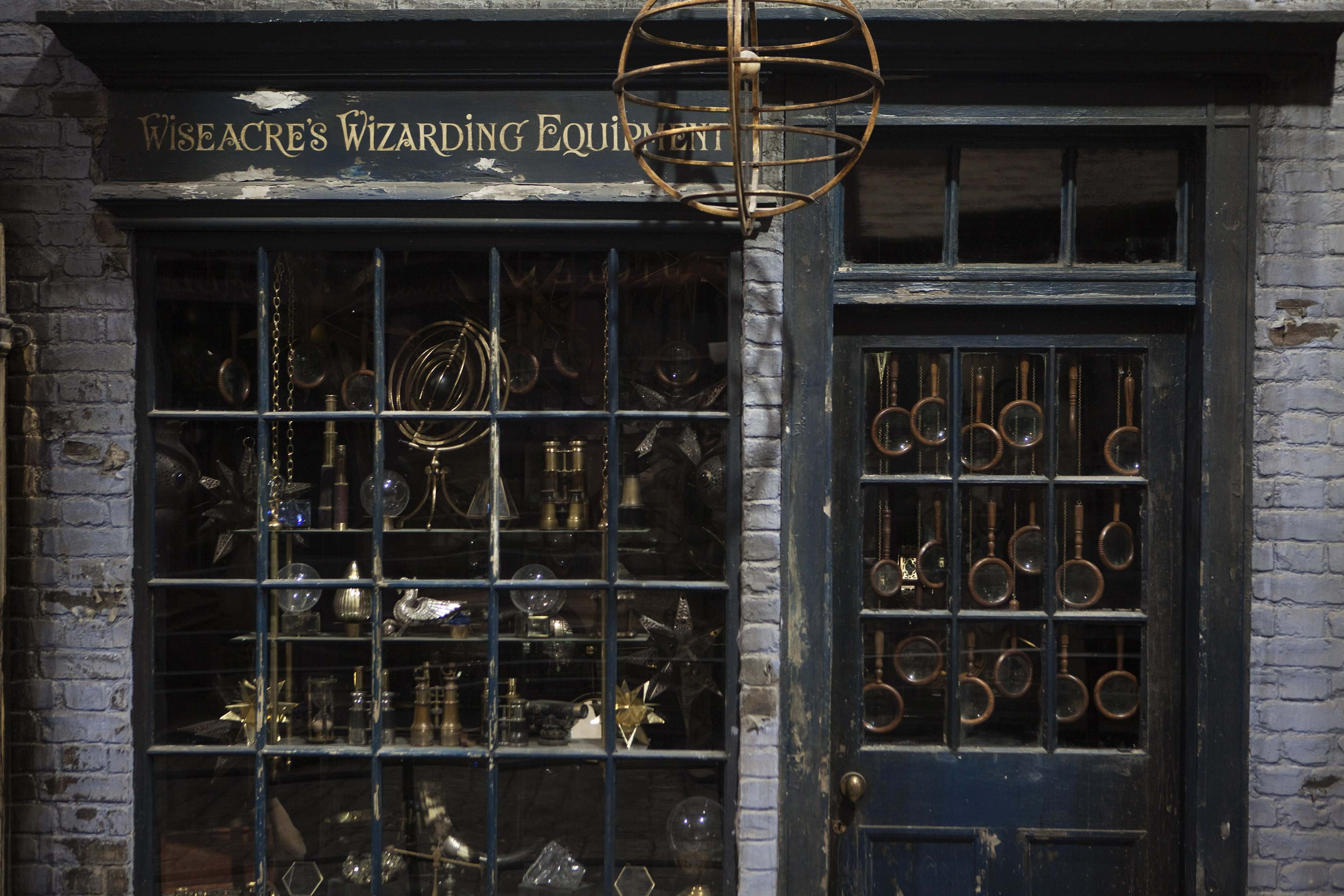 "A storefront is seen in ""Diagon Alley"" during a media viewing tour of the set of the Harry Potter films at the Warner Bros. Studio Tour in Leavesden"