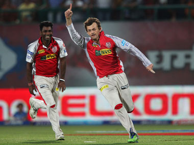 Gilchrist celebrates after taking a wicket. BCCI