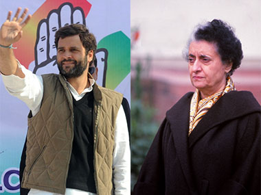 A combo picture of Rahul Gandhi and Indira Gandhi. AFP/Getty Images