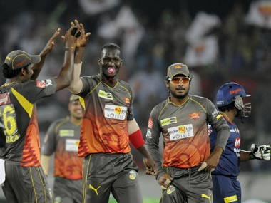 Sammy celebrates after taking a wicket against Delhi. BCCI