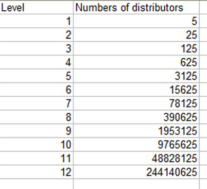 Table explains the number of distributors.