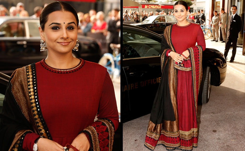 Actress and jury member Vidya Balan arrives for cocktails at the Martinez Hotel at the 66th international film festival, in Cannes, southern France, Tuesday, May 14, 2013. AP