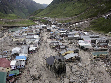 The town of Kedarnath in debris after the flood. AP