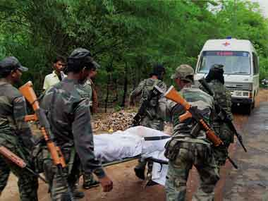 Victims of the deadly Maoist attack on the Congress convoy in Chhattisgarh on 25 May 2013. PTI