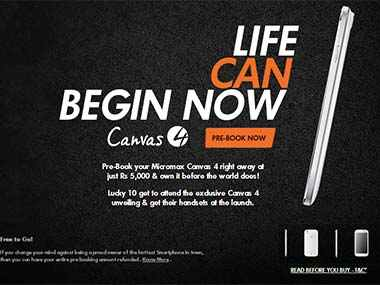 Micromax Canvas 4 is up for pre-booking today. Screengrab.