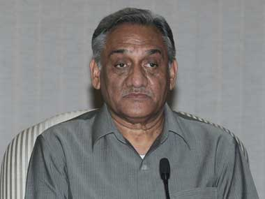 Vijay Bahuguna has that deer-caught-in-the-headlamps look. Image courtesy PIB