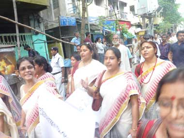 A group of women recite poems. Sandip Roy/ Firstpost