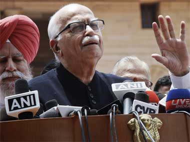 Is Advani just not willing to see the writing on the wall? Reuters