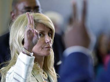 Wendy Davis voting after her 13 hour long filibuster. AP image