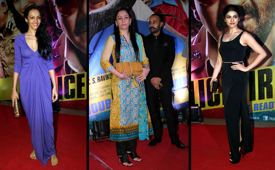 Dipannita Sharma, Manyata Dutt and Prachi Desai at the special screening of Policegiri.