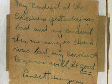 A note Ernest Hemmingway wrote to his mom apologising for his behaviour. AP