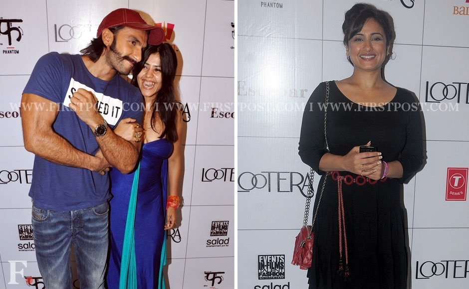 (left) Ranveer Singh and producer Ekta Kapoor, actress Divya Dutta (right) at the success party of Lootera. Sachin Gokhale/Firstpost