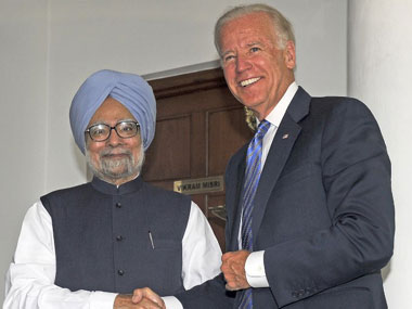 Prime Minister Manmohan Singh and Joe Biden. AFP