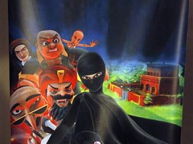 A poster of animated Burka Avenger series is displayed at an office in Islamabad, Pakistan. AP