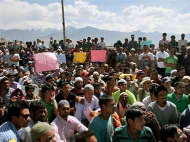 Protesters shouting slogans during a protest in Leh on Friday over the BSF firing incident at Ramban. PTI