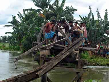 Flood havoc in Assam. PTI