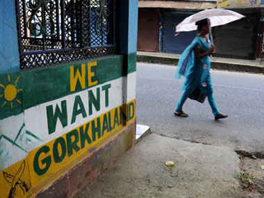 Wall art in Darjeeling demanding Gorkhaland. AFP.