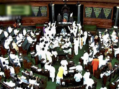 MPs rushing to the well of the house - a typical session of Parliament