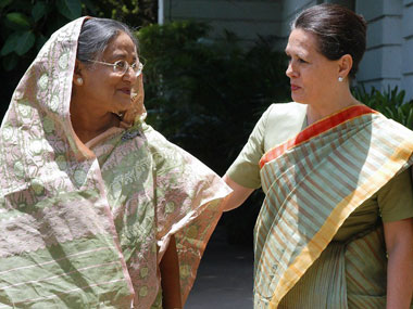 Sonia Gandhi and Sheikh Hasina. AFP.