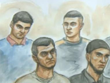 Screengrab of the accused men via BBC video.