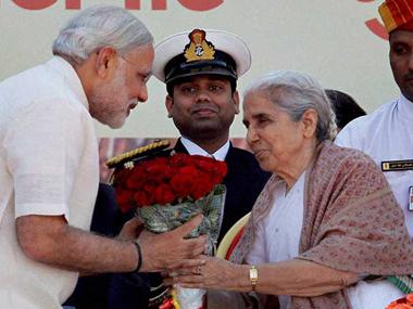 Gujarat governor Kamla Beniwal and chief minister Narendra Modi. PTI