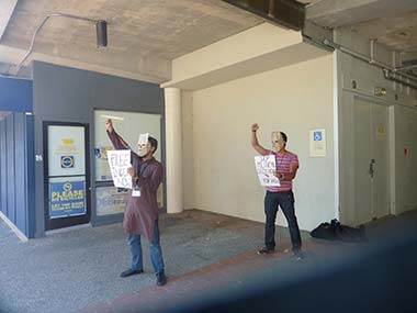 Re-enacting the anti-Emergency protests during the South Asian Radical History Walking Tour at UC Berkeley