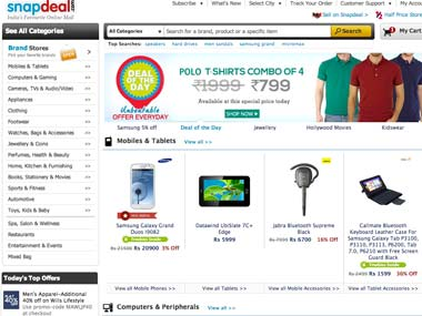 Snapdeal. Screen grab of webiste.