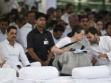 Sonia Gandhi with Rahul Gandhi and Robert Vadra in this file photo. AFP