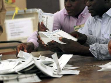 Votes being counted after Zimbabwe went to the polls. AP