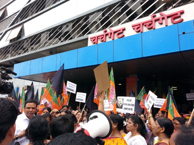 BJP supporters protest outside Churchgate station in Mumbai. Image: Arlene Chang
