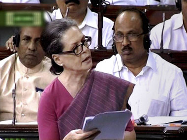 Sonia Gandhi debates the Food Security Bill in Parliament. PTI