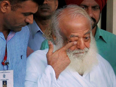 Asaram Bapu after he was brought to Jaipur for questioning yesterday: PTI