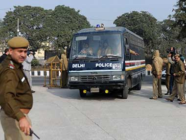 Delhi gangrape case accused being bought to court in a police van. AFP