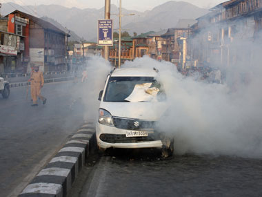 The car that was fired upon in Srinagar. Sameer Yasir/ Firstpost