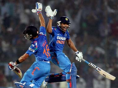 Rohit Sharma and Virat Kohli added 186 from 17.2 overs to take India to victory. PTI