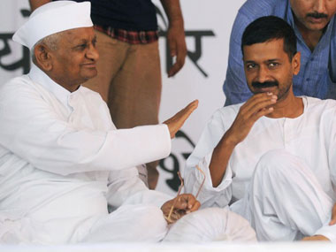 Anna Hazare and Arvind Kejriwal in happier times. AFP.