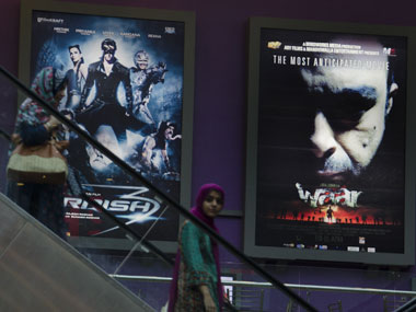 A poster of Waar alongside Krrish 3. AP.