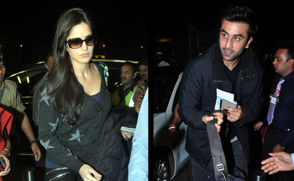 Katrina Kaif left Mumbai last night with her rumoured boyfriend Ranbir Kapoor. Reportedly the two, along with a couple of friends which include Ranbir Kapooor's sister, Kareena and her husband Saif Ali Khan are heading to New York for a holiday.