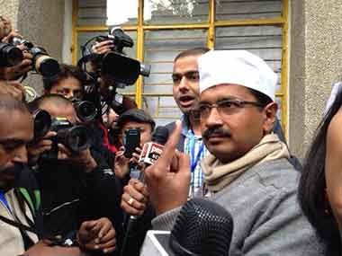 AAP's Arvind Kejriwal after casting his vote. Firstpost/Shruti Dhapola