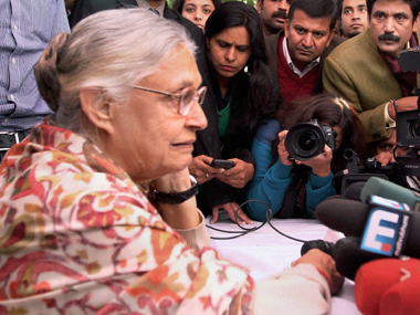 Sheila Dikshit at her post results press conference on Sunday: PTI