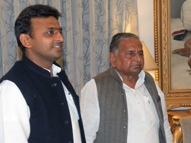 Akhilesh Yadav and Mulayam Singh Yadav. Agencies.