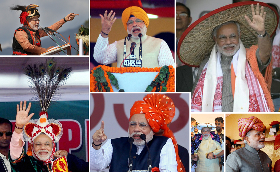 As BJP's Prime Ministerial candiate, Narendra Modi  has been hitting the rallies hard. And the man hasn't been afraid to try out different headgear at each rally, from pagodas to traditional Rajasthani turbans and even the more fancier stuff. A combination of pictures showing Modi in various avatars. (Images from AP, PTI)