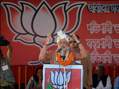 Narendra Modi addresses a rally in Assam. PTI
