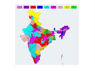 The map showing different polling phases. Image from Election Commission website.