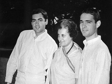 Indira Gandhi with her sons Rajiv and Sanjay. AFP