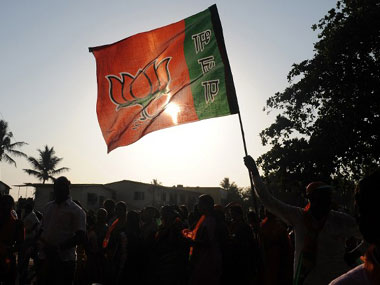 A BJP flag. AFP.