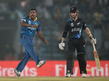 Rangana Herath of Sri Lanka celebrates dismissing Luke Ronchi of New Zealand during the ICC World Twenty20 Bangladesh 2014 Group 1 match between Sri Lanka and New Zealand. Getty Images