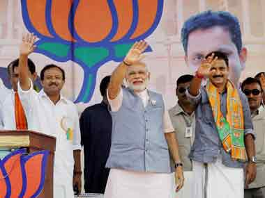 Modi during his rally in Kerala. PTI
