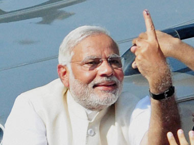 Narendra Modi after voting. PTI