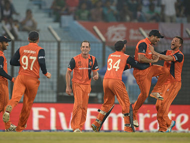 Nethersland players celebrates after running out Tim Bresnan of England during the ICC World Twenty20 Bangladesh 2014 Group 1 match between England and the Netherlands. Getty Images